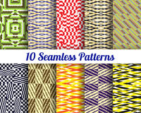 Set of 10 Abstract patterns. Color seamless vector backgrounds Stock Images