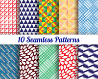 Set of 10 Abstract patterns. Color seamless vector backgrounds Royalty Free Stock Image