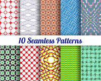 Set of 10 Abstract patterns. Color seamless vector backgrounds Stock Photos