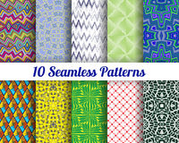 Set of 10 Abstract patterns. Color seamless vector backgrounds royalty free illustration