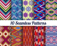 Set of 10 Abstract patterns. Color seamless vector backgrounds Royalty Free Stock Photo