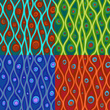 Set of abstract patterns in four color combinations Stock Images