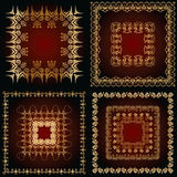 Set of a abstract patterns with golden floral ornaments Royalty Free Stock Photography