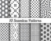 Set of 10 Abstract patterns. Gray seamless vector backgrounds Stock Photo