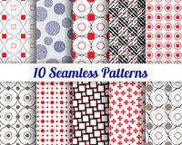 Set of 10 Abstract patterns. Set of 10 Abstract round patterns. Color seamless vector backgrounds vector illustration