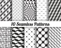 Set of 10 Abstract patterns. Vector seamless patterns set, geometric background black and white Stock Images