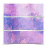 Set of Abstract Pink Triangular Polygonal headers Royalty Free Stock Photos