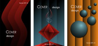 Set of abstract posters in red, black and blue colors. Set of abstract shapes. Posters in red, black and blue colors...Red wave, abstract altar, balls on a vector illustration