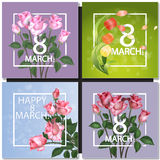 Set of Abstract Purple Floral Greeting card. International Happy Womens Day - 8 March holiday background with Frame and roses Flowers. Trendy Design Template Royalty Free Stock Images