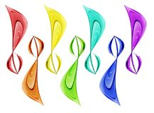 Set of abstract rainbow colored waves. A set of abstract rainbow colors in the shape of a treble clef Royalty Free Stock Photography