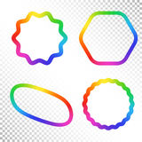 Set of Abstract Rainbow Gradient Figure. Place for your Content Colorful Frame with Iridescent Gradient Mesh Royalty Free Stock Photo
