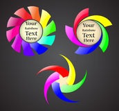 Set of the abstract rainbow spiral signs Stock Image
