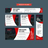 Set of abstract red and whie professional web banners. Set of abstract red, white and grey web banners for professions and brands Royalty Free Stock Images