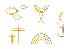 Set of abstract religious symbols (gold) vector illustration