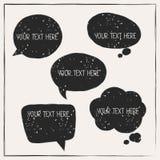 Set of abstract retro grunge speech bubbles Stock Photos