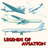 Set of abstract retro planes. Pop art retro style. Legends of aviation. Air transport Royalty Free Stock Photo