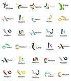 Set of abstract ribbon logo icons Royalty Free Stock Photo