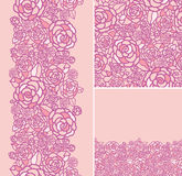 Set of abstract roses seamless pattern and borders Royalty Free Stock Photos