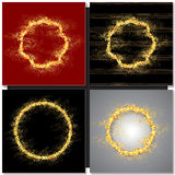 Set of Abstract round golden frame with sparkles Royalty Free Stock Images