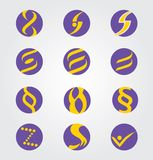 Set of 12 Abstract Round Icons / S / Infinity / Eight. Set of 12 Abstract Round Icons / S / Infinity / Paragraph Elements in Blue and Yellow Colors Stock Photos