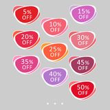 Set of abstract rounded colorful sale stickers. Multicolor retro design on white background. Elements for web page ad, tickets,. Discount offer price labels vector illustration