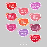Set of abstract rounded colorful sale stickers. Multicolor retro design on white background. Elements for web page ad, tickets, discount offer price labels royalty free illustration