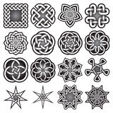 Set of abstract sacred geometry symbols in Celtic knots style Stock Photos