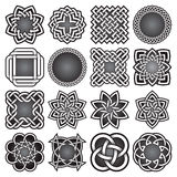 Set of abstract sacred geometry symbols in Celtic knots style. Royalty Free Stock Photography