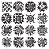 Set of abstract sacred geometry symbols in Celtic knots style. Royalty Free Stock Images
