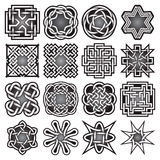 Set of abstract sacred geometry symbols in Celtic knots style. Stock Photo
