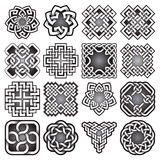 Set of abstract sacred geometry symbols in Celtic knots style. Tribal tattoo signs collection Royalty Free Stock Photos