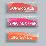 Set of abstract sale banners with glass elements. stock illustration