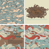 Set of abstract seamless backgrounds and templates for design Stock Image
