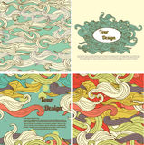 Set of abstract seamless backgrounds and templates for design Stock Images