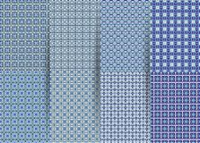 Set of 6 abstract seamless checkered geometric patterns. Vector blue geometric ackground for fabrics, prints, children`s clothes. vector illustration