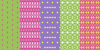 Set of abstract seamless colorful patterns. In exquisite style stock illustration
