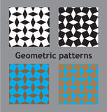 Set of abstract seamless geometric cube patterns Stock Images