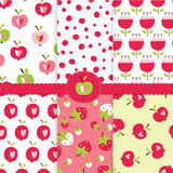 Set of abstract seamless pattern with apples. Strawberries and abstract flowers for wrapping paper, scrapbook paper, bedding design Vector Illustration