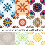 Set of abstract seamless pattern with a circular pattern. Stock Images