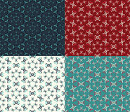 Set Abstract seamless pattern in four different colour Royalty Free Stock Images