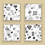 Set  Abstract seamless pattern in postmodern Memphis Style black  grey on white Royalty Free Stock Image