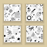 Set  Abstract seamless pattern in postmodern Memphis Style black  grey on white Stock Images