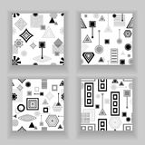 Set  Abstract seamless pattern in postmodern Memphis Style black  grey on white Royalty Free Stock Photos
