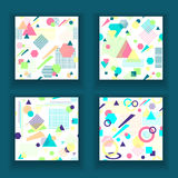 Set  Abstract seamless pattern in postmodern Memphis Style on White Stock Photography