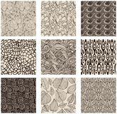 Set of abstract seamless patterns black and white. Floral backgrounds Royalty Free Stock Photo