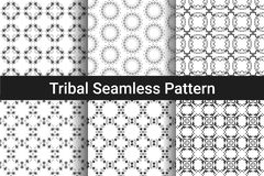Set of abstract seamless patterns. Black and white color. Tribal style. A geometric design. Ethnic round element. Vector illustration Stock Image