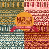 Set of abstract seamless patterns in boho style, mexican colors stock illustration