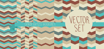 Set of abstract seamless patterns, chevron ornaments Royalty Free Stock Photos