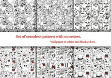 Set of abstract seamless patterns with doodle monsters. Six seamless patterns on art-boards and in swatches. Stock Photos