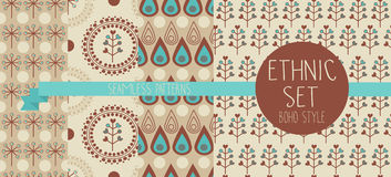 Set of abstract seamless patterns, drop and floral ethnic elements stock photography